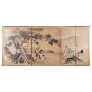 Japanese Six-Panel Edo Screen of Immortals With Children For Sale
