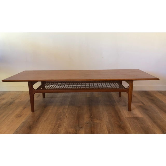 Mid-Century Modern Danish MCM Long Coffee Table With Woven Wicker Shelf by Trioh Mobler For Sale - Image 3 of 9