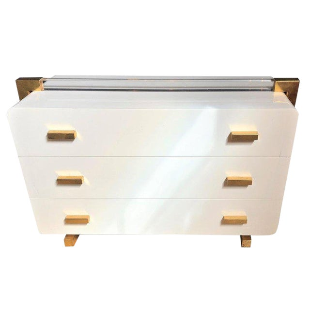 One of a Kind Metal Lacquered and Lucite Important Italian Commode or Dresser For Sale