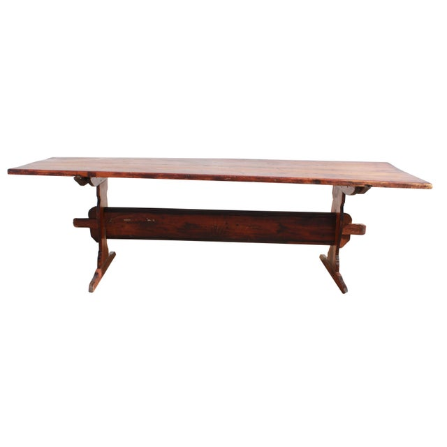 Americana Antique Country Pine Farm Table For Sale - Image 3 of 13