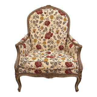 1980s Louis XVI Bergere Custom Upholstered Armchair Minton Spidell For Sale