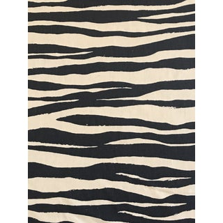 "Kate Spade ""Mona Zebra"" Navy Linen Fabric 6 Continuous Yards For Sale"