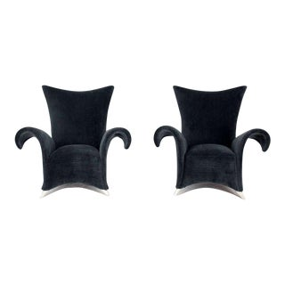 Mid Century Modern High Back Oversize Wingback Chairs- a Pair For Sale