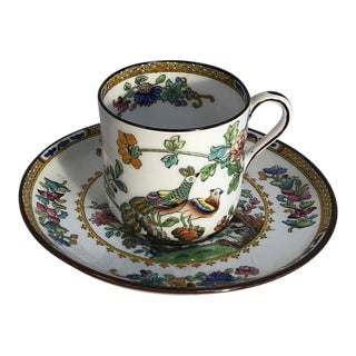 Copeland Spode Oriental Peacock Demitasse Cup & Saucer For Sale