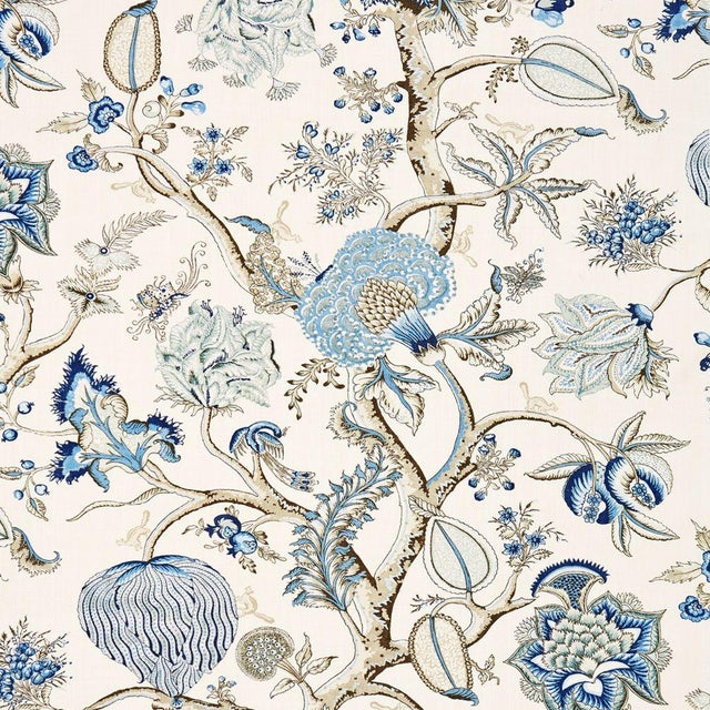 Transitional Scalamandre Pondicherry Linen Print Fabric Sample For Sale - Image 3 of 3