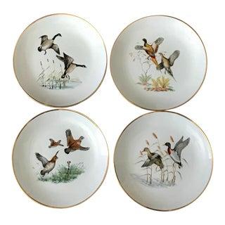 German Vintage Gilt Porcelain Pheasant / Wildlife Salad Plates - Set of 4 For Sale