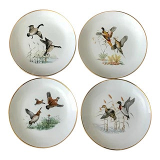 Vintage German Gilt Porcelain Pheasant Plates - Set of 4