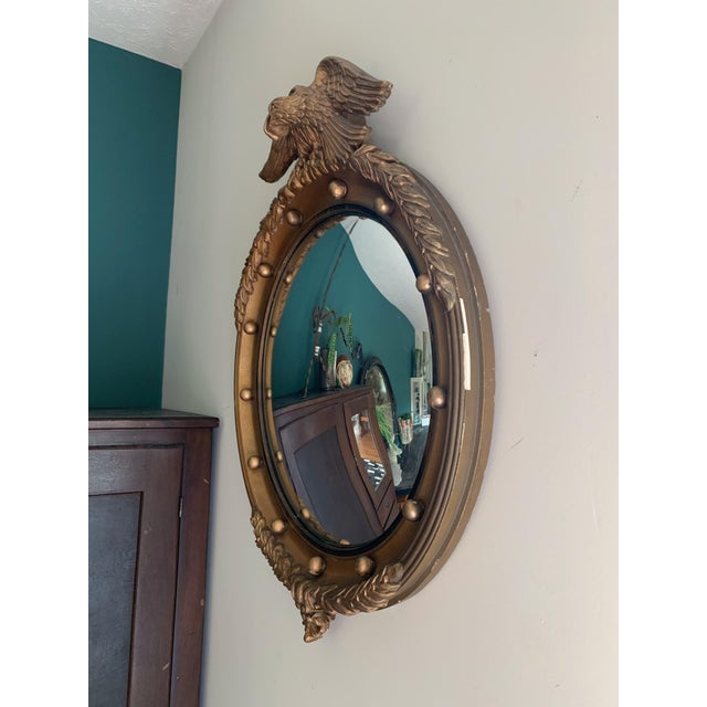 Vintage Gilt Wood Federal Eagle Convex Mirror For Sale - Image 4 of 8