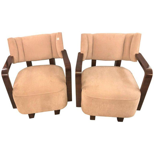 Pair of Modern Art Deco Rosewood Club Bergère or Lounge Chairs For Sale - Image 13 of 13