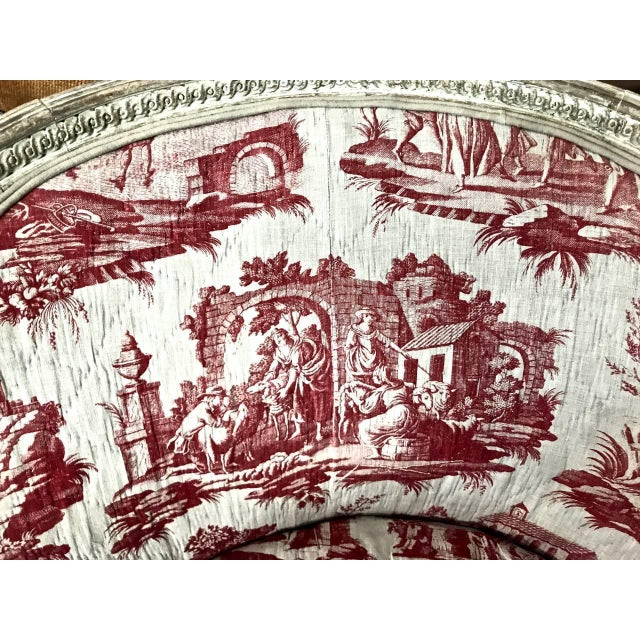 French Louis XVI 18th c. French Painted Bergere in Early 19th Century Toile For Sale - Image 3 of 6