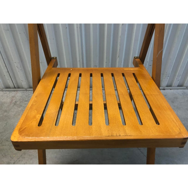 1960s Vintage Danish Romanian Wood Folding Dining Chair For Sale - Image 4 of 11