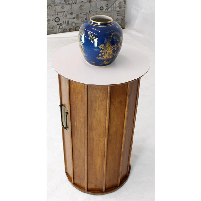 Round Cylinder Shape Pedestal Bar Cabinet Storage Cabinet With Brass Hardware For Sale - Image 10 of 12