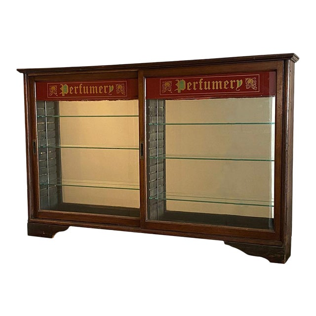 Early 20th Century Store Perfume Display Cabinet For Sale