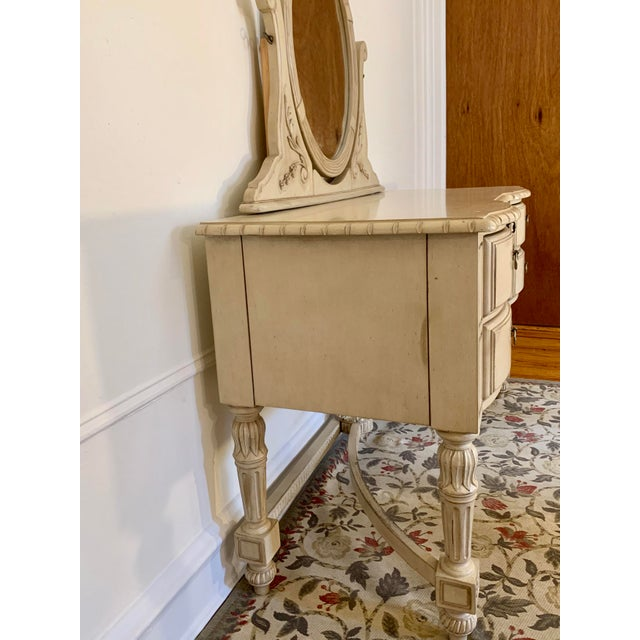 Shabby Chic Laura Ashley for Kincaid Furniture French Provincial Style Vanity With Mirror For Sale - Image 3 of 10