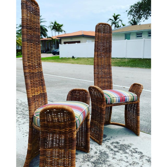 Wicker Arm Chairs - a Pair For Sale - Image 4 of 11