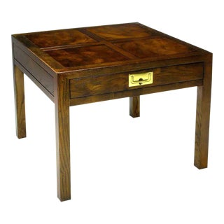 Henredon Campaign Parquetry Top Burl Walnut End Table For Sale