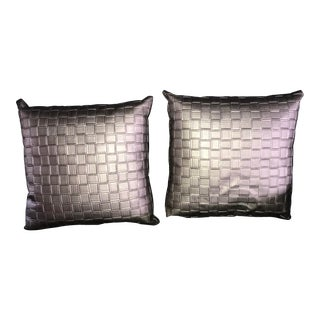 Late 20th Century Dark Silver Metallic Woven Accent Pillows - a Pair For Sale