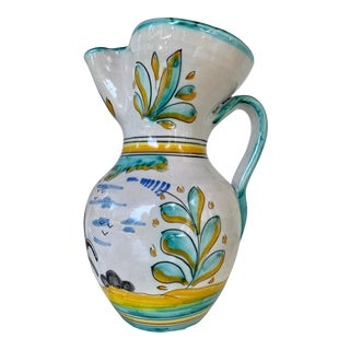 19th Century Earthenware Talavera Glazed Hand Painted Pitcher For Sale