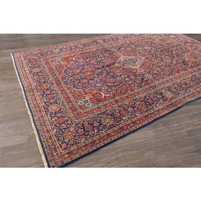 "Apadana Antique Persian Kashan Rug - 6'11"" x 10'2"" For Sale - Image 5 of 6"