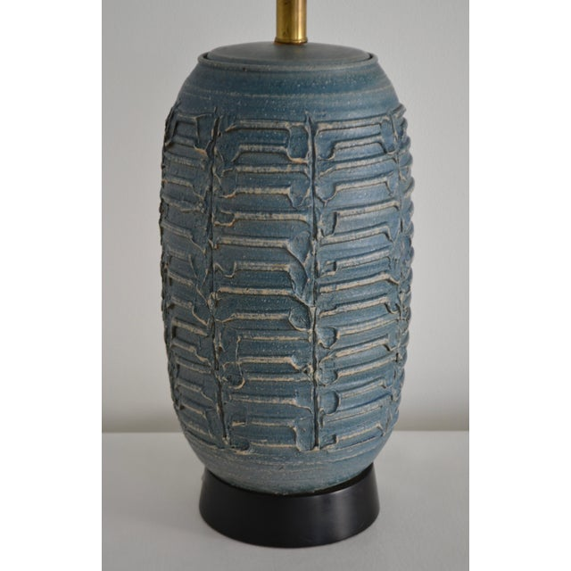 Blue 1950s Mid-Century Hand Thrown Ceramic Table Lamp For Sale - Image 8 of 13