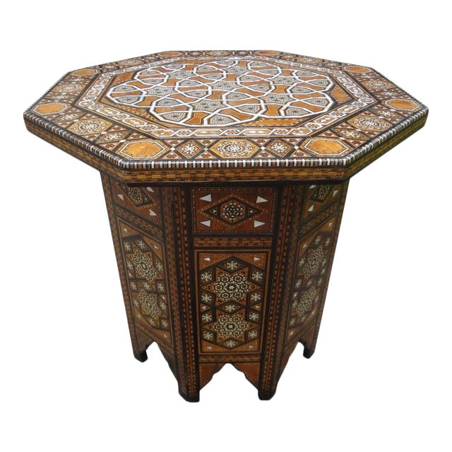 Antique Middle Eastern Arabesque Style Mother of Pearl Inlaid Table For Sale