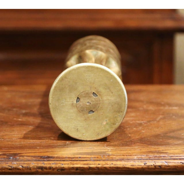 World War I French Trench Artillery Brass Shell Casing Vase With Foliage Motifs For Sale - Image 10 of 12