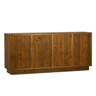 Brass Inset Wood Sideboard