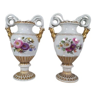 19th Century Meissen Snake Handled Urns - a Pair For Sale