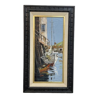 Mid Century Sailboat Painting by Charles Beauvais For Sale