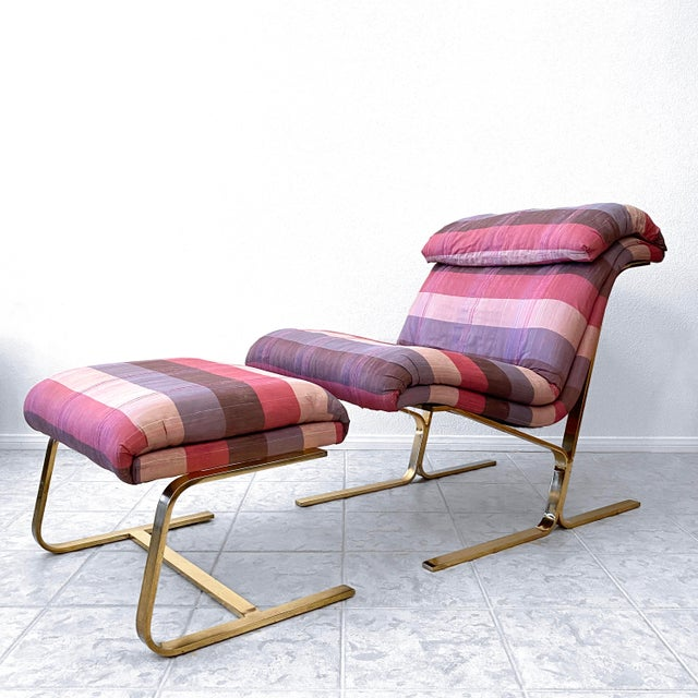 Postmodern Brass Lounge Chair With Ottoman by Dansen For Sale - Image 10 of 10
