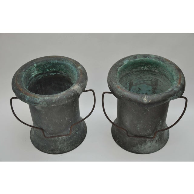 19th Century Pair of Verdigris Vessels From France For Sale In Chicago - Image 6 of 11