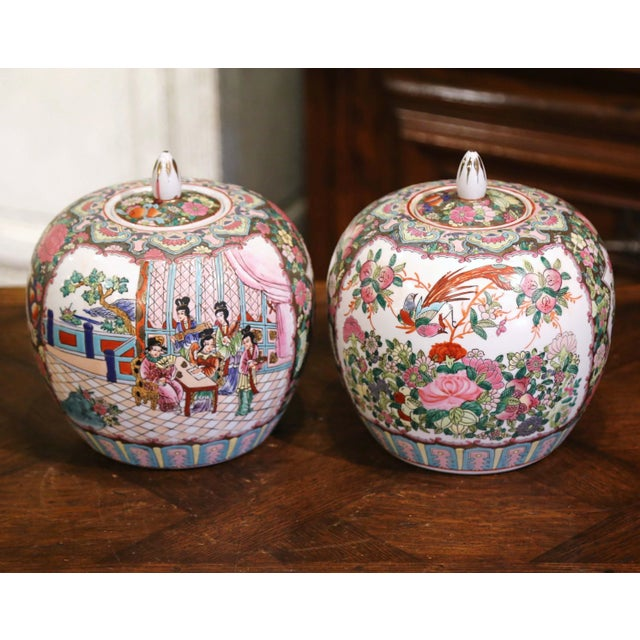 Mid-Century Chinese Famille Rose Porcelain Melon Jars - a Pair For Sale - Image 4 of 11