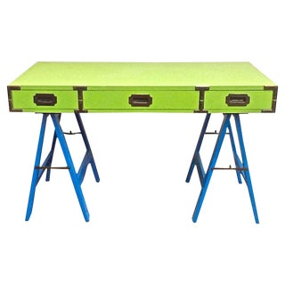 1960s Campaign Green and Blue Writing Desk For Sale