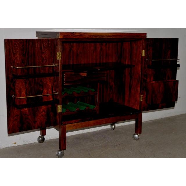 Brass Danish Modern Rosewood Bar Cart by Torborn Afdal for Mellemstrands C.1960s For Sale - Image 7 of 13