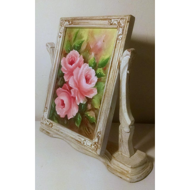 Vintage Swivel Stand With Signed Floral Painting - Image 2 of 5