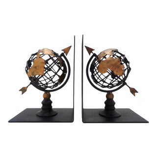 Vintage Black & Gold Metal Globe Atlas Bookends For Sale