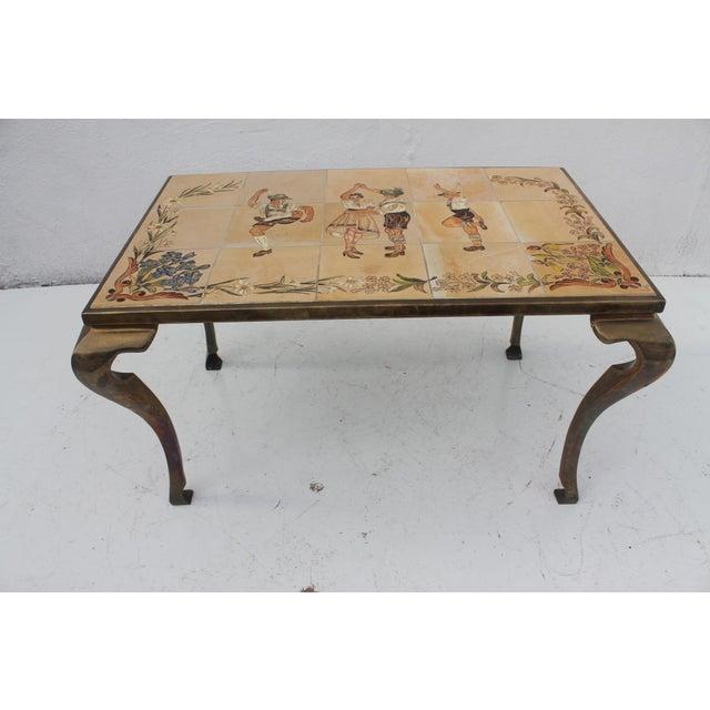 Vintage Brass Ceramic Tile Top Coffee Table Chairish