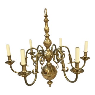 Vaughan Designs Brass Dutch Single Tier 6 Light Chandelier For Sale
