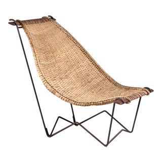 John Risley Metal and Rattan Duyan Lounge Chair, Usa, 1950s For Sale