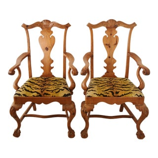 Italian Scalamandre Le Tigre (Tiger) Velvet Armchairs - Pair For Sale