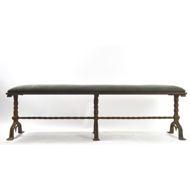 Mid 19th Century Large Gothic Wrought Iron Bench After Yellin For Sale - Image 5 of 13