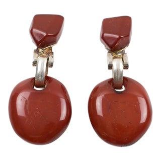 Dominique Denaive Paris Signed Brick Red Resin Dangling Clip on Earrings For Sale
