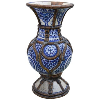 Blue Ceramic Vase W/ Fine Brass Filigree For Sale