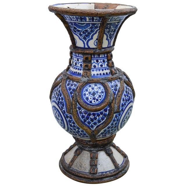 Blue Ceramic Vase W/ Fine Brass Filigree For Sale