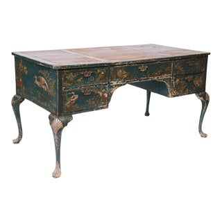 Queen Anne Style Green Patinated Desk For Sale