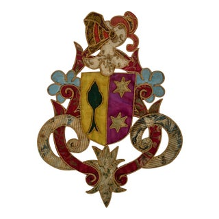 19th Century Italian Knight Coat of Arms Armorial Embroidery For Sale