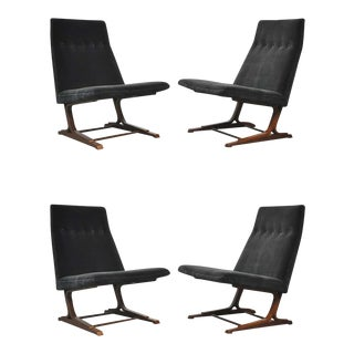 Roger Sprunger Dunbar Model 480 Cantilever Lounge Chairs- A Pair For Sale