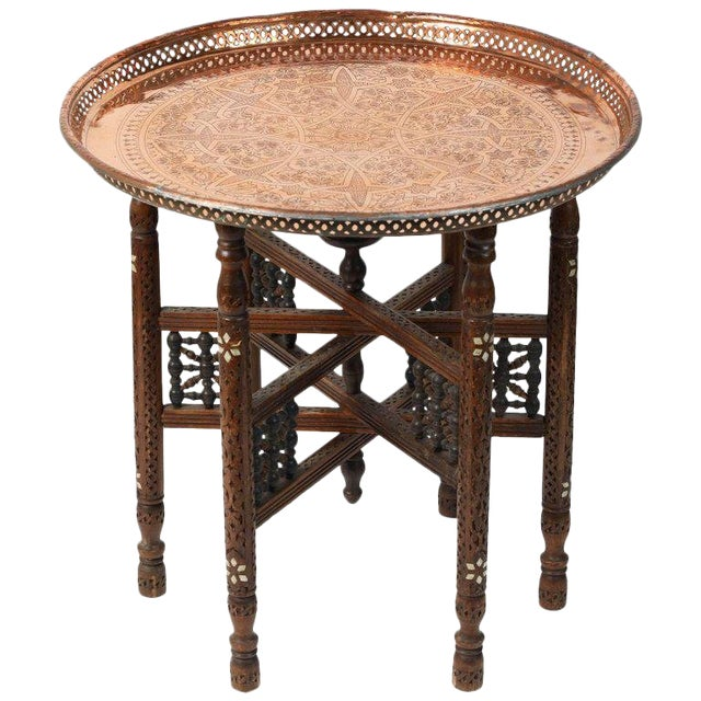 Moroccan Copper Tray Table With Folding Base For Sale