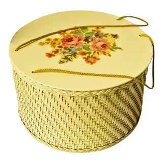 Vintage Wicker Sewing Basket For Sale