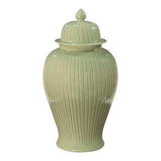 Traditional Sarreid Ltd. Celadon Bamboo Temple Jar For Sale